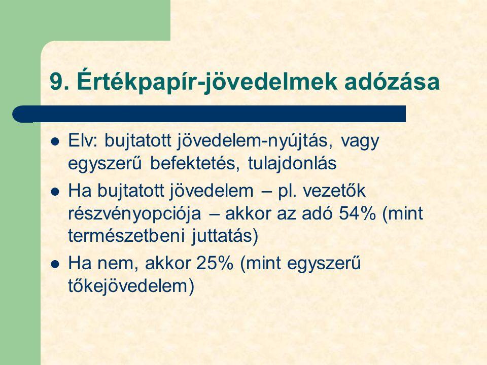 9. Értékpapír-jövedelmek adózása Elv: bujtatott jövedelem-nyújtás, vagy egyszerű befektetés, tulajdonlás Ha bujtatott jövedelem – pl. vezetők részvény