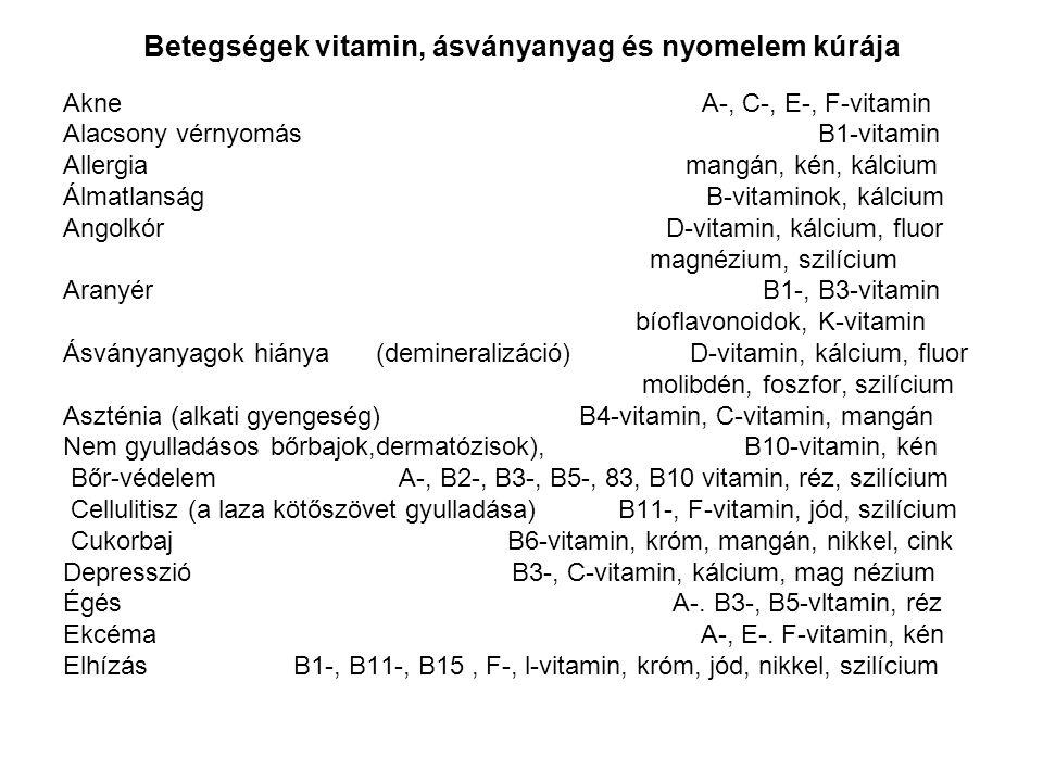 Betegségek vitamin, ásványanyag és nyomelem kúrája Akne A-, C-, E-, F-vitamin Alacsony vérnyomás B1-vitamin Allergia mangán, kén, kálcium Álmatlanság