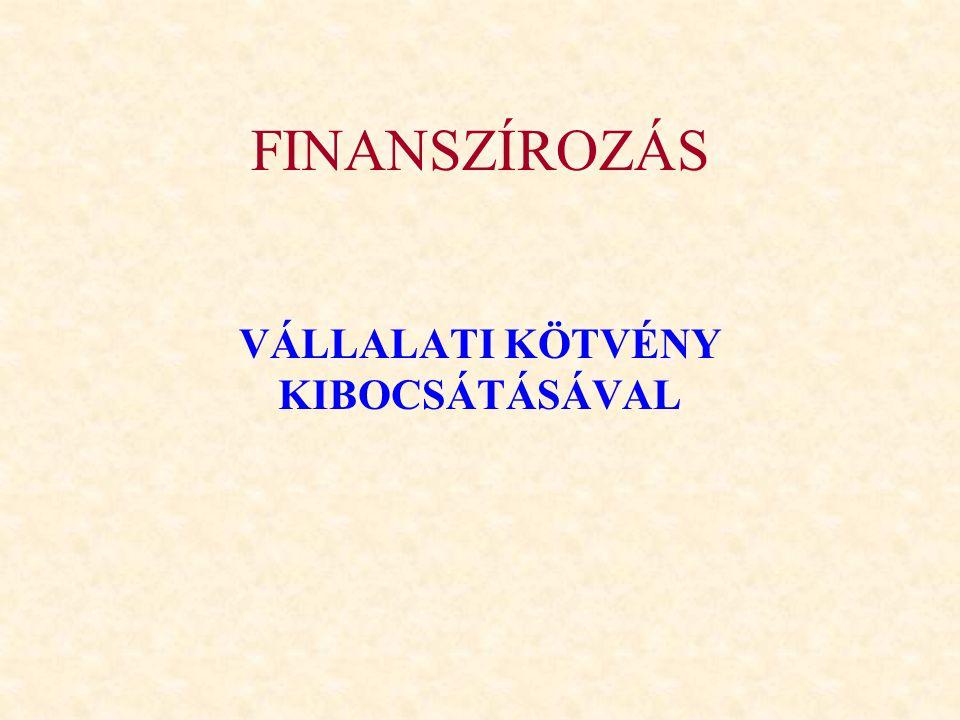 Klasszikus kötvény Hitelviszonyt megtestesítő fix kamatozású értékpapír.