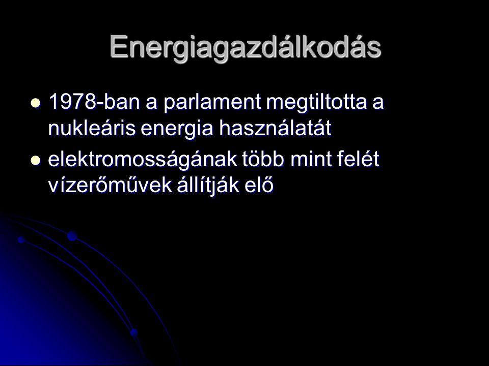 Energiagazdálkodás 1978-ban a parlament megtiltotta a nukleáris energia használatát 1978-ban a parlament megtiltotta a nukleáris energia használatát e