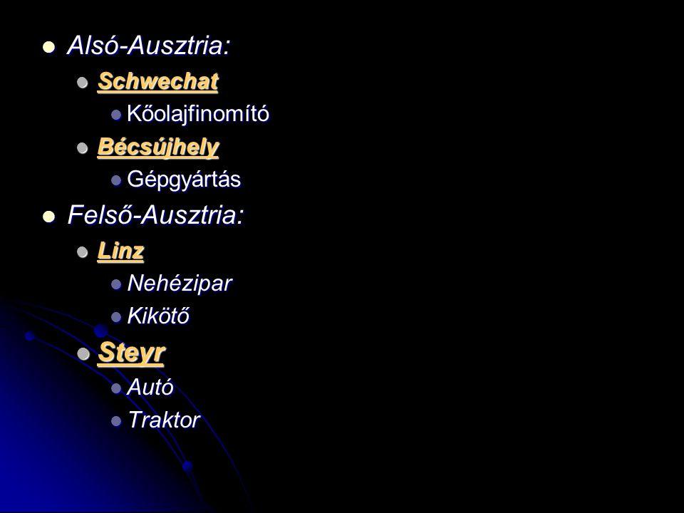 Alsó-Ausztria: Alsó-Ausztria: Schwechat Schwechat Kőolajfinomító Kőolajfinomító Bécsújhely Bécsújhely Gépgyártás Gépgyártás Felső-Ausztria: Felső-Ausz