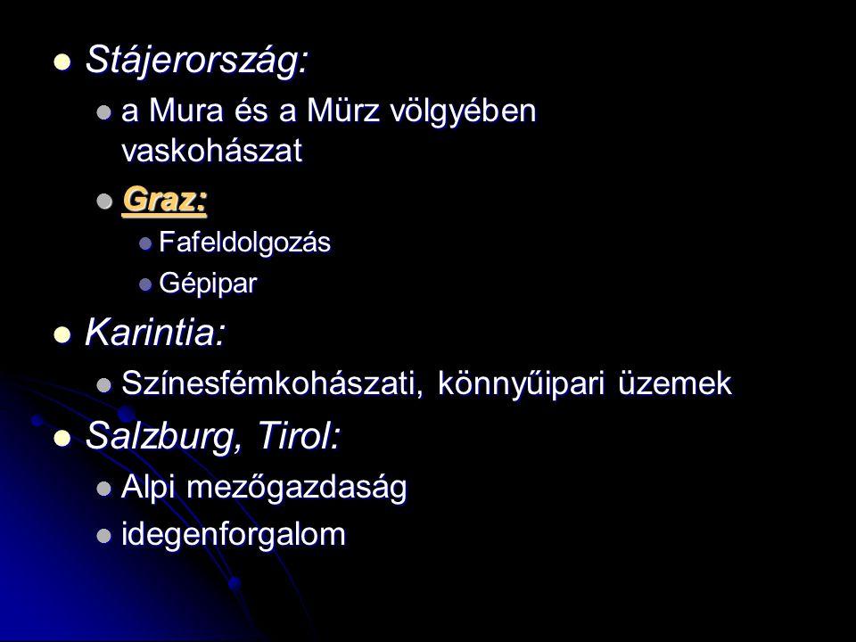 Stájerország: Stájerország: a Mura és a Mürz völgyében vaskohászat a Mura és a Mürz völgyében vaskohászat Graz: Graz: Fafeldolgozás Fafeldolgozás Gépi