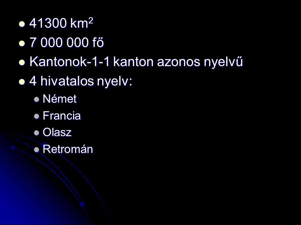 41300 km 2 41300 km 2 7 000 000 fő 7 000 000 fő Kantonok-1-1 kanton azonos nyelvű Kantonok-1-1 kanton azonos nyelvű 4 hivatalos nyelv: 4 hivatalos nye