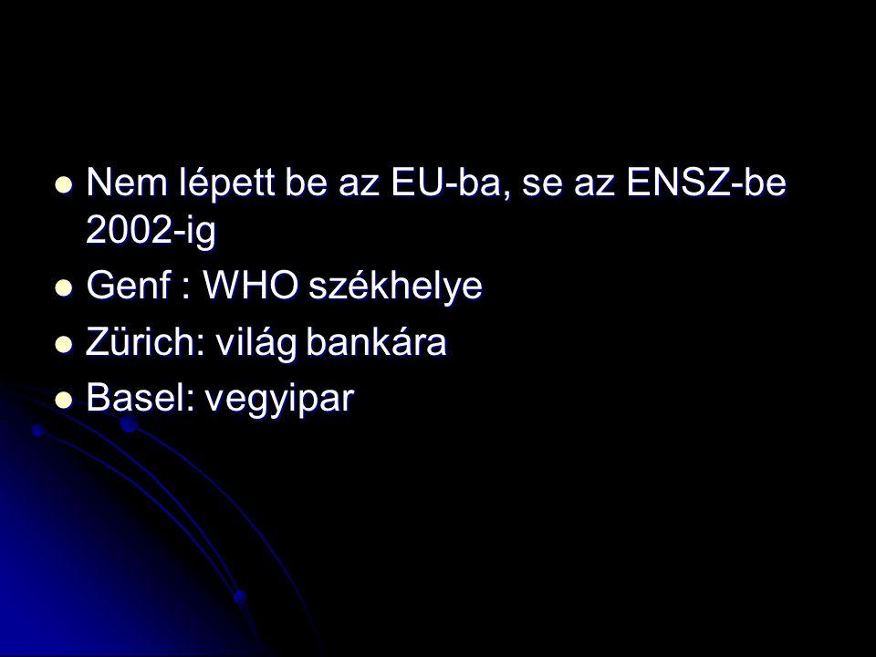 Nem lépett be az EU-ba, se az ENSZ-be 2002-ig Nem lépett be az EU-ba, se az ENSZ-be 2002-ig Genf : WHO székhelye Genf : WHO székhelye Zürich: világ ba