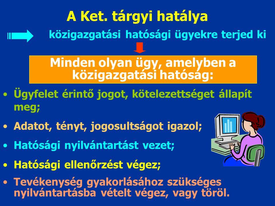 A Ket. hatálya = egy jogszabály Milyen személyekre, szervezetre Milyen élet- viszonyokra Milyen területen Milyen időben állapít meg jogokat, kötelezet
