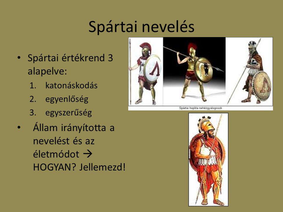 Spártai nevelés Spártai értékrend 3 alapelve: 1.katonáskodás 2.egyenlőség 3.egyszerűség Állam irányította a nevelést és az életmódot  HOGYAN? Jelleme