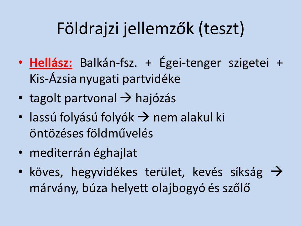 Földrajzi jellemzők (teszt) Hellász: Balkán-fsz. + Égei-tenger szigetei + Kis-Ázsia nyugati partvidéke tagolt partvonal  hajózás lassú folyású folyók