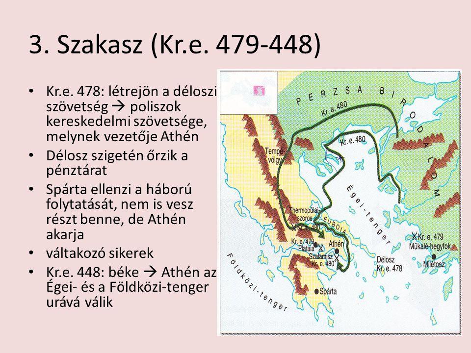 3. Szakasz (Kr.e. 479-448) Kr.e. 478: létrejön a déloszi szövetség  poliszok kereskedelmi szövetsége, melynek vezetője Athén Délosz szigetén őrzik a