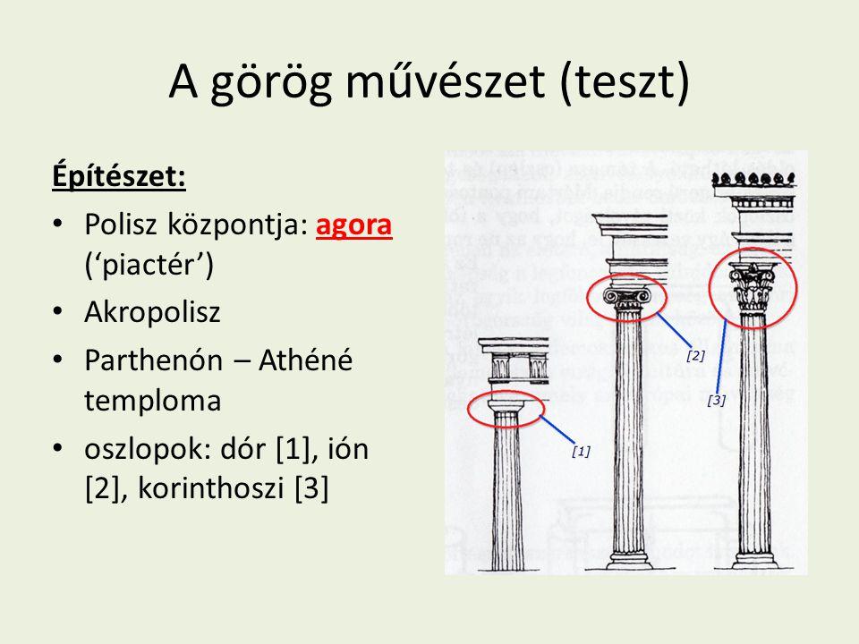 A görög művészet (teszt) Építészet: Polisz központja: agora ('piactér') Akropolisz Parthenón – Athéné temploma oszlopok: dór [1], ión [2], korinthoszi