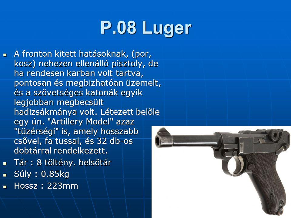 P.08 Luger A fronton kitett hatásoknak, (por, kosz) nehezen ellenálló pisztoly, de ha rendesen karban volt tartva, pontosan és megbizhatóan üzemelt, és a szövetséges katonák egyik legjobban megbecsült hadizsákmánya volt.