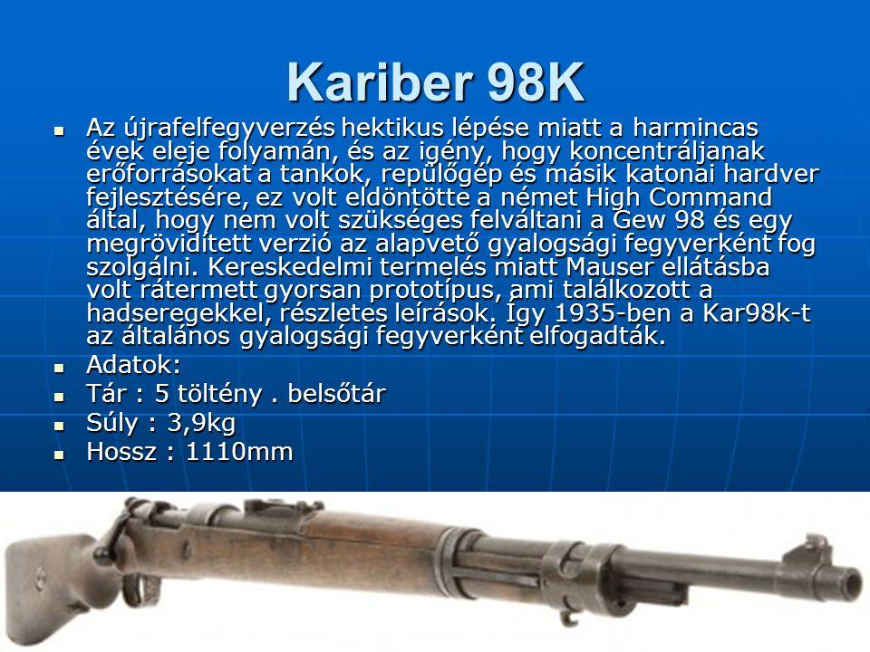 Kariber 98K Az újrafelfegyverzés hektikus lépése miatt a harmincas évek eleje folyamán, és az igény, hogy koncentráljanak erőforrásokat a tankok, repülőgép és másik katonai hardver fejlesztésére, ez volt eldöntötte a német High Command által, hogy nem volt szükséges felváltani a Gew 98 és egy megrövidített verzió az alapvető gyalogsági fegyverként fog szolgálni.