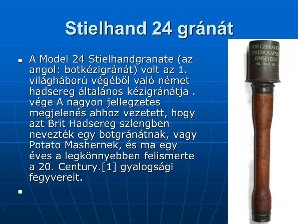 Stielhand 24 gránát A Model 24 Stielhandgranate (az angol: botkézigránát) volt az 1.