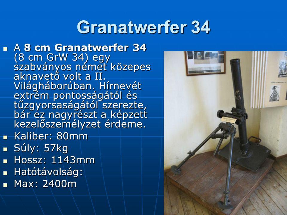 Maschinengewehr 34 (Mg34) A Mauser cég által kifejlesztett MG 34-es a második világháború egyik legkorszerûbb géppuskája volt.