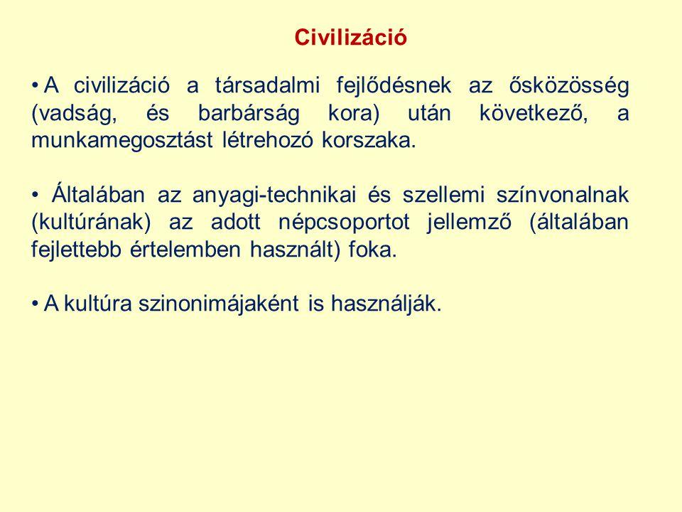 Civilizáció A civilizáció a társadalmi fejlődésnek az ősközösség (vadság, és barbárság kora) után következő, a munkamegosztást létrehozó korszaka. Ált