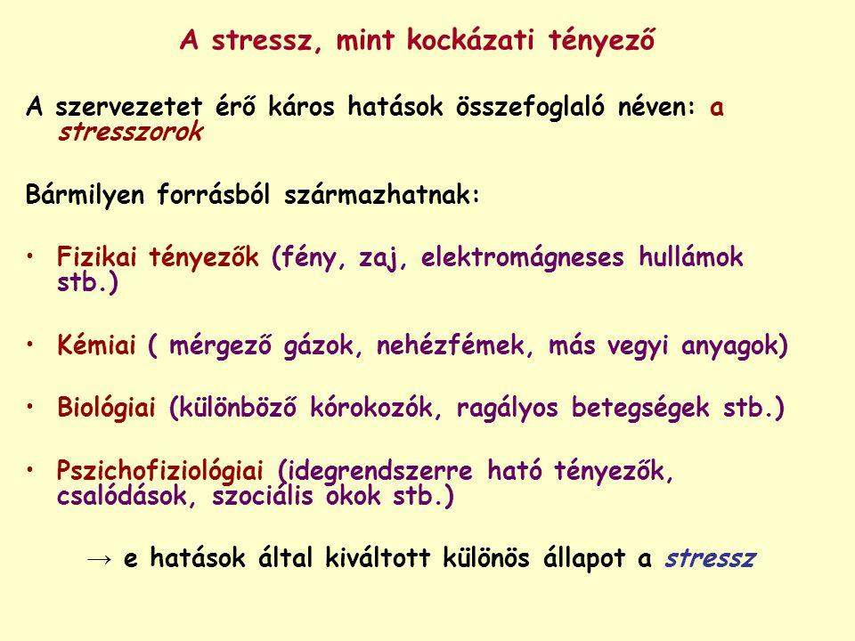 A stressz, mint kockázati tényező A szervezetet érő káros hatások összefoglaló néven: a stresszorok Bármilyen forrásból származhatnak: Fizikai tényező