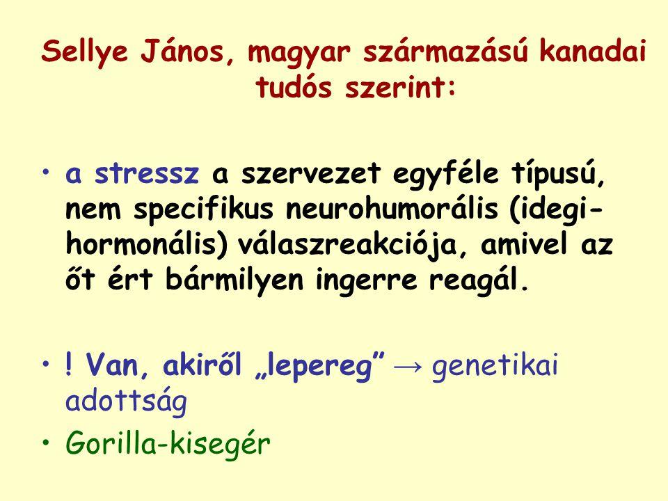 Sellye János, magyar származású kanadai tudós szerint: a stressz a szervezet egyféle típusú, nem specifikus neurohumorális (idegi- hormonális) válaszr