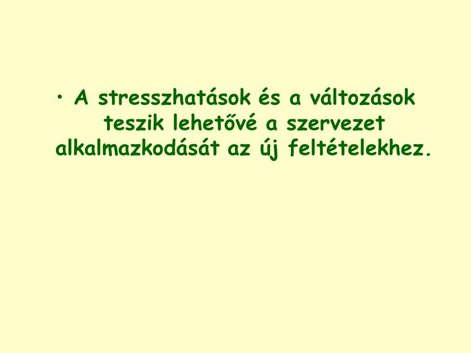 A stresszhatások és a változások teszik lehetővé a szervezet alkalmazkodását az új feltételekhez.