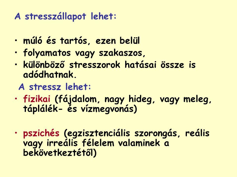 A stresszállapot lehet: múló és tartós, ezen belül folyamatos vagy szakaszos, különböző stresszorok hatásai össze is adódhatnak. A stressz lehet: fizi