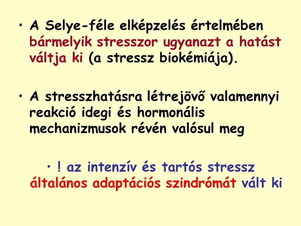 A Selye-féle elképzelés értelmében bármelyik stresszor ugyanazt a hatást váltja ki (a stressz biokémiája). A stresszhatásra létrejövő valamennyi reakc