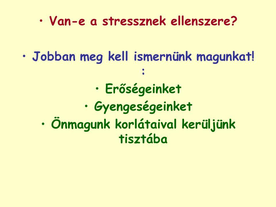 Van-e a stressznek ellenszere? Jobban meg kell ismernünk magunkat! : Erőségeinket Gyengeségeinket Önmagunk korlátaival kerüljünk tisztába