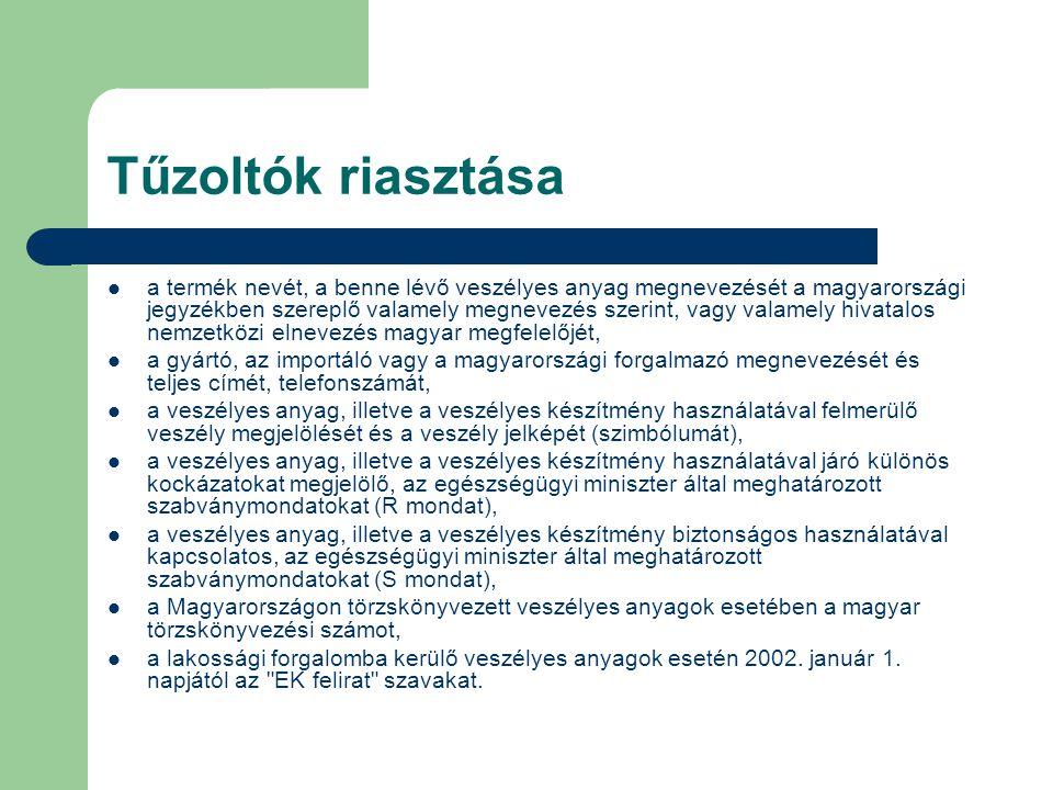 Tűzoltók riasztása a termék nevét, a benne lévő veszélyes anyag megnevezését a magyarországi jegyzékben szereplő valamely megnevezés szerint, vagy val
