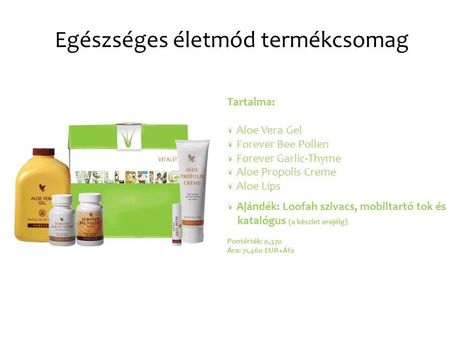 Egészséges életmód termékcsomag Tartalma: Aloe Vera Gel Forever Bee Pollen Forever Garlic-Thyme Aloe Propolis Creme Aloe Lips Ajándék: Loofah szivacs, mobiltartó tok és katalógus (a készlet erejéig) Pontérték: 0,370 Ára: 71,460 EUR+Áfa