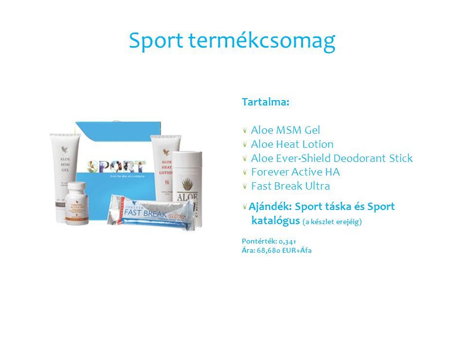 Sport termékcsomag Tartalma: Aloe MSM Gel Aloe Heat Lotion Aloe Ever-Shield Deodorant Stick Forever Active HA Fast Break Ultra Ajándék: Sport táska és Sport katalógus (a készlet erejéig) Pontérték: 0,341 Ára: 68,680 EUR+Áfa