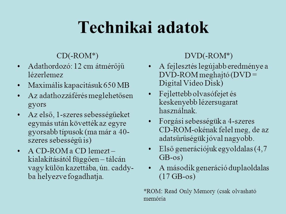 Technikai adatok CD(-ROM*) Adathordozó: 12 cm átmérőjű lézerlemez Maximális kapacitásuk 650 MB Az adathozzáférés meglehetősen gyors Az első, 1-szeres sebességűeket egymás után követték az egyre gyorsabb típusok (ma már a 40- szeres sebességű is) A CD-ROM a CD lemezt – kialakításától függően – tálcán vagy külön kazettába, ún.