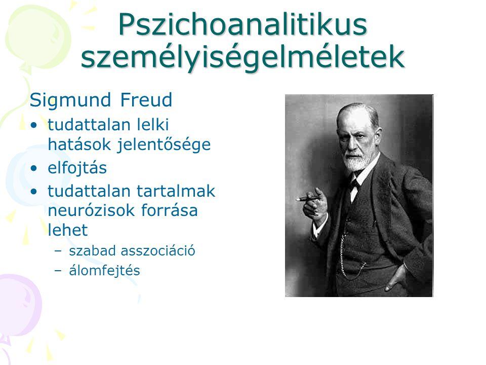 Pszichoanalitikus személyiségelméletek Sigmund Freud tudattalan lelki hatások jelentősége elfojtás tudattalan tartalmak neurózisok forrása lehet –szabad asszociáció –álomfejtés