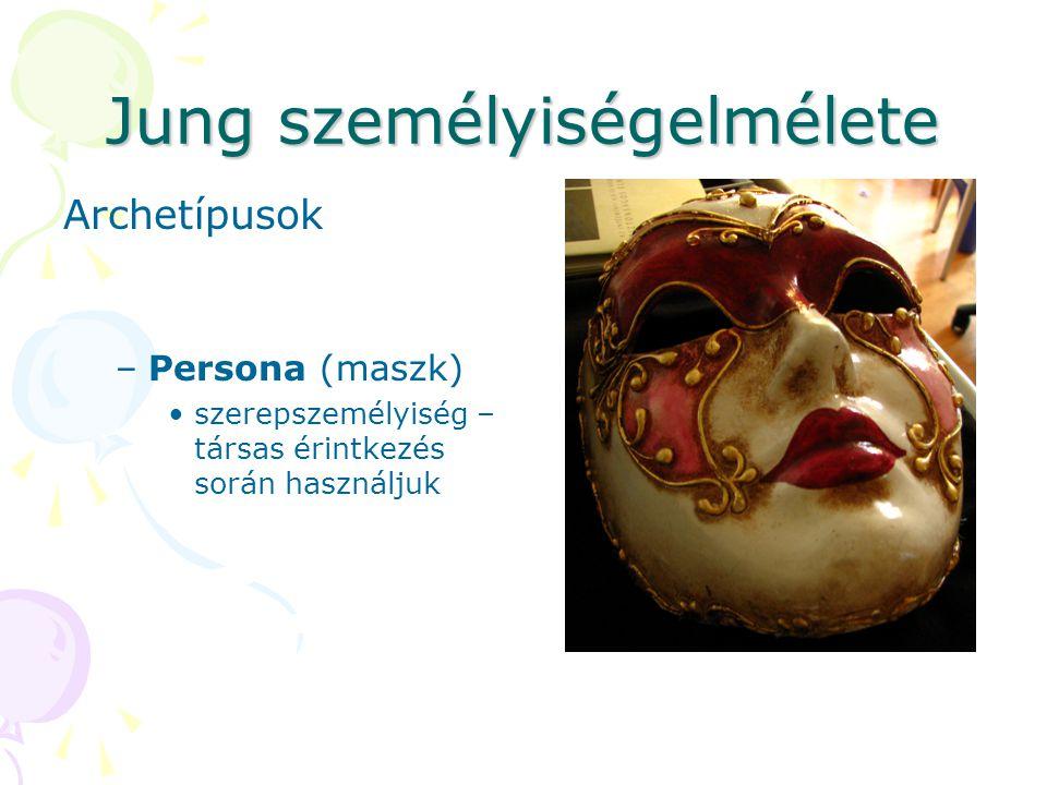 Jung személyiségelmélete Archetípusok –Persona (maszk) szerepszemélyiség – társas érintkezés során használjuk