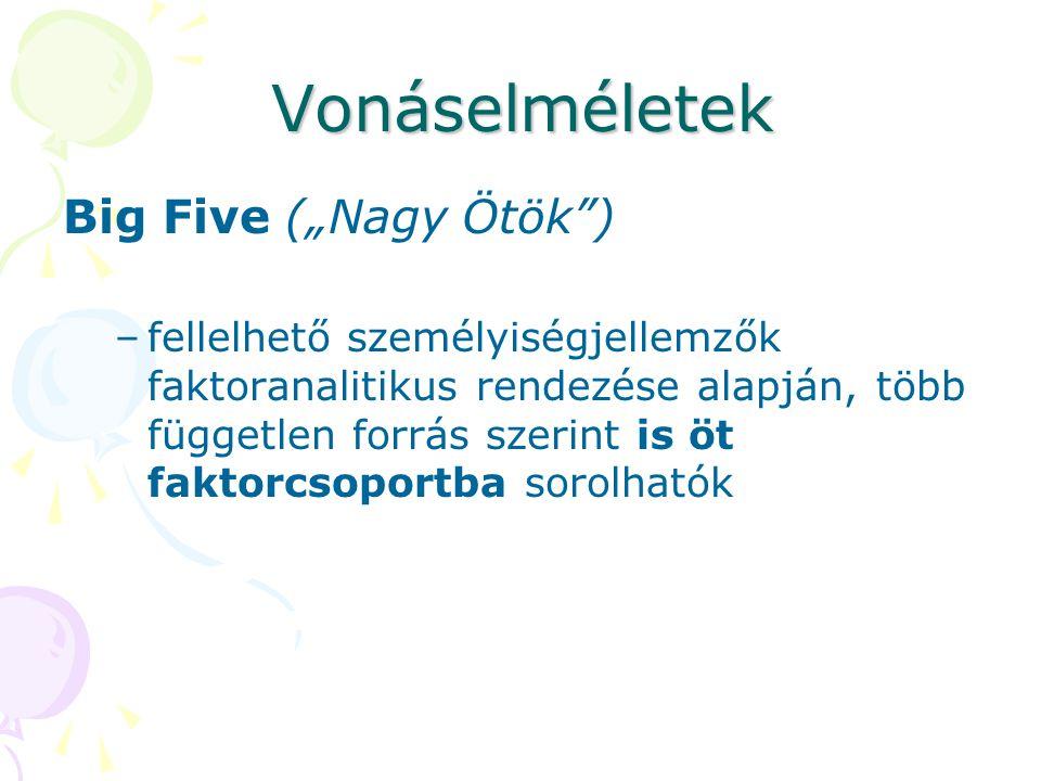 """Vonáselméletek Big Five (""""Nagy Ötök ) –fellelhető személyiségjellemzők faktoranalitikus rendezése alapján, több független forrás szerint is öt faktorcsoportba sorolhatók"""