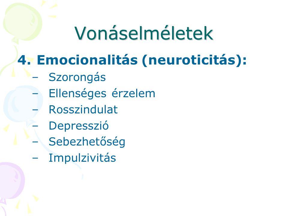 Vonáselméletek 4.Emocionalitás (neuroticitás): –Szorongás –Ellenséges érzelem –Rosszindulat –Depresszió –Sebezhetőség –Impulzivitás