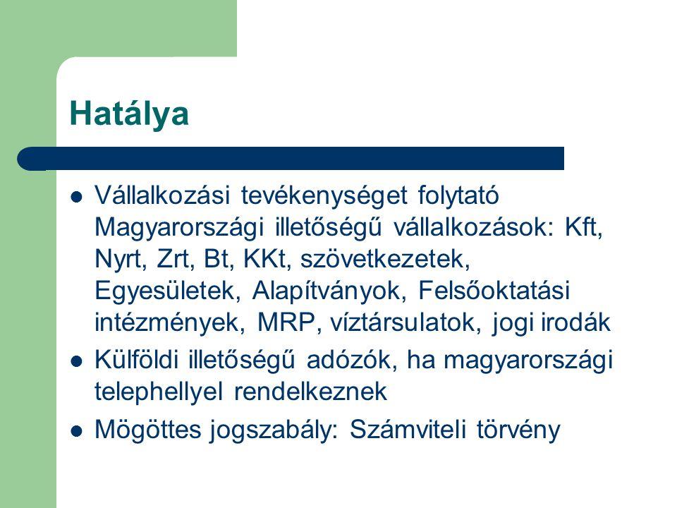 Hatálya Vállalkozási tevékenységet folytató Magyarországi illetőségű vállalkozások: Kft, Nyrt, Zrt, Bt, KKt, szövetkezetek, Egyesületek, Alapítványok, Felsőoktatási intézmények, MRP, víztársulatok, jogi irodák Külföldi illetőségű adózók, ha magyarországi telephellyel rendelkeznek Mögöttes jogszabály: Számviteli törvény