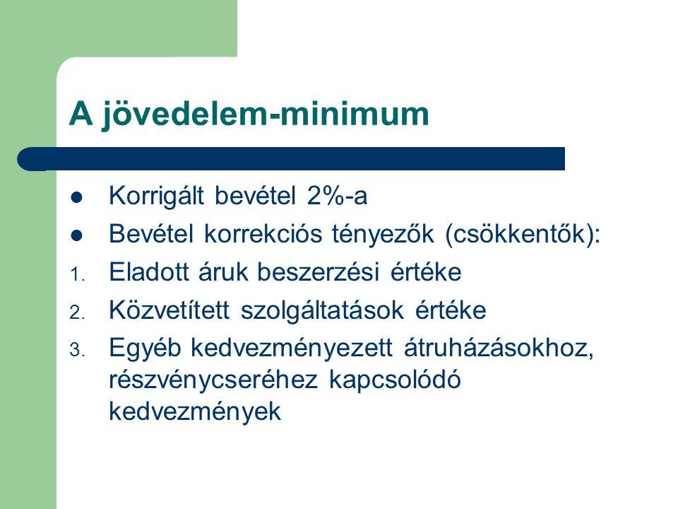 A jövedelem-minimum Korrigált bevétel 2%-a Bevétel korrekciós tényezők (csökkentők): 1. Eladott áruk beszerzési értéke 2. Közvetített szolgáltatások é