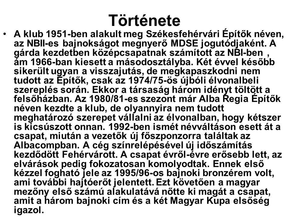 Története A klub 1951-ben alakult meg Székesfehérvári Építők néven, az NBII-es bajnokságot megnyerő MDSE jogutódjaként.