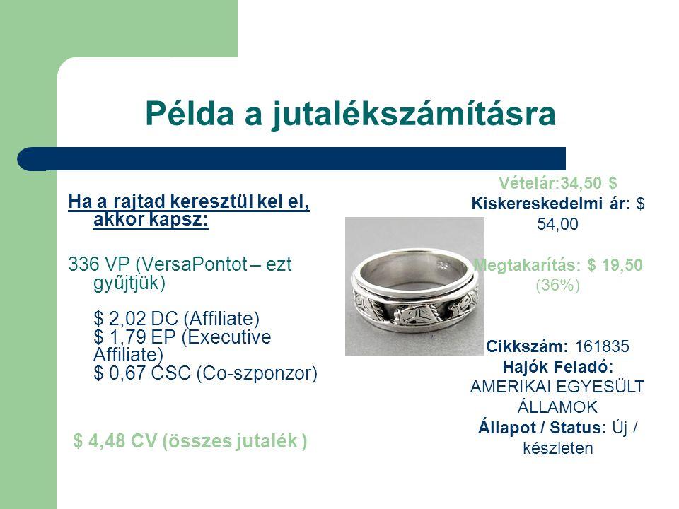 Példa a jutalékszámításra Ha a rajtad keresztül kel el, akkor kapsz: 336 VP (VersaPontot – ezt gyűjtjük) $ 2,02 DC (Affiliate) $ 1,79 EP (Executive Affiliate) $ 0,67 CSC (Co-szponzor) $ 4,48 CV (összes jutalék ) Vételár:34,50 $ Kiskereskedelmi ár: $ 54,00 Megtakarítás: $ 19,50 (36%) Cikkszám: 161835 Hajók Feladó: AMERIKAI EGYESÜLT ÁLLAMOK Állapot / Status: Új / készleten