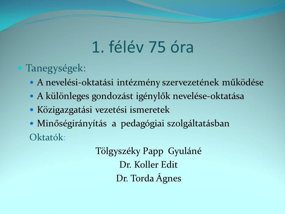 1. félév75 óra Tanegységek: A nevelési-oktatási intézmény szervezetének működése A különleges gondozást igénylők nevelése-oktatása Közigazgatási vezet