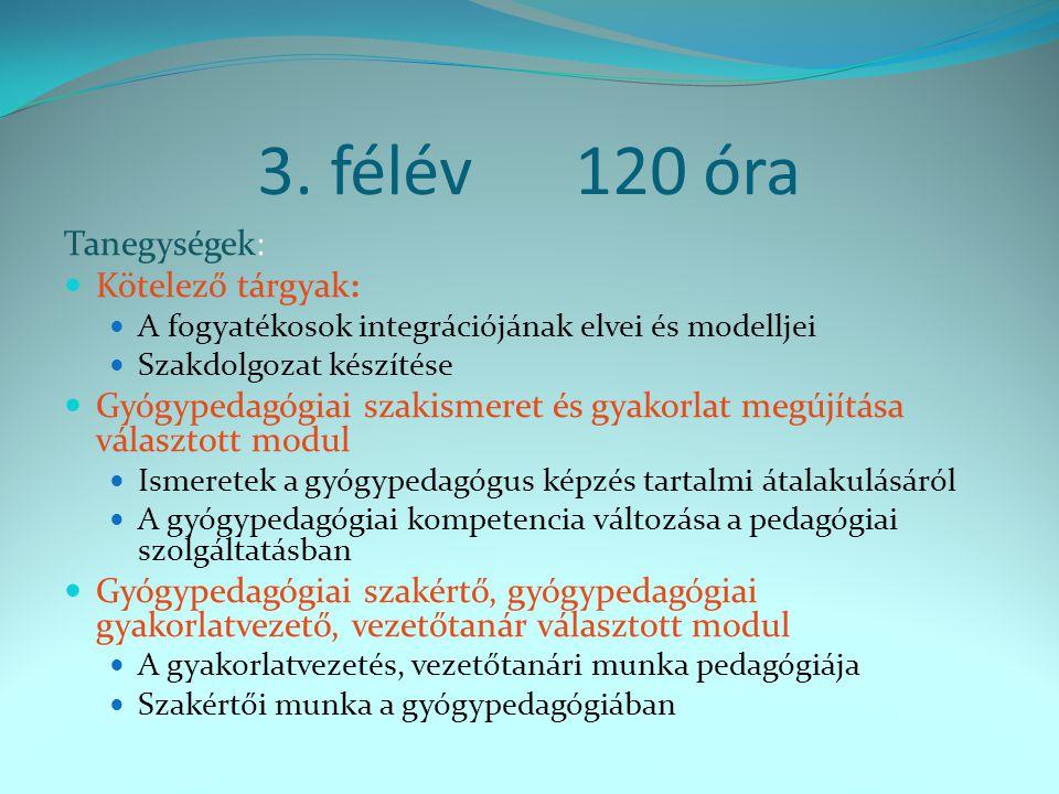 3. félév120 óra Tanegységek: Kötelező tárgyak: A fogyatékosok integrációjának elvei és modelljei Szakdolgozat készítése Gyógypedagógiai szakismeret és