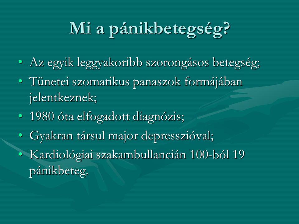 A pánikbetegség tünetei Legalább 4 az alábbiak közül (egy hónapon belül 4 roham)Legalább 4 az alábbiak közül (egy hónapon belül 4 roham) -Kardiális vagy mellkasi pánik tünetei: palpitatio, tachycardia, mellkasi fájdalom, nyomás, szorítás.
