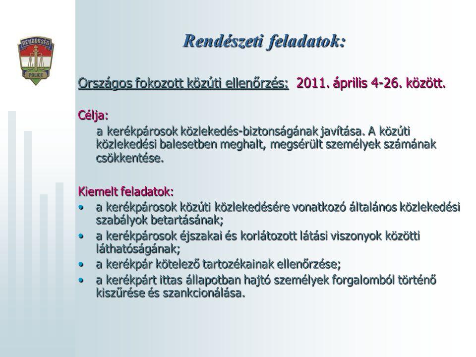 Rendészeti feladatok: Országos fokozott közúti ellenőrzés: 2011. április 4-26. között. Célja: a kerékpárosok közlekedés-biztonságának javítása. A közú