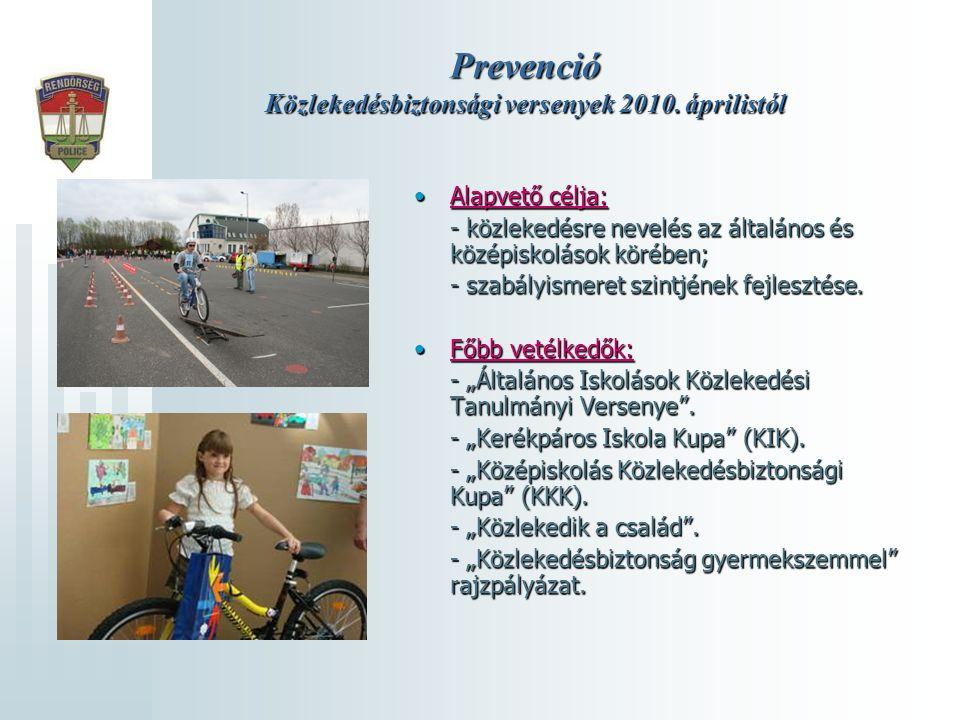 Prevenció Közlekedésbiztonsági versenyek 2010. áprilistól Alapvető célja:Alapvető célja: - közlekedésre nevelés az általános és középiskolások körében