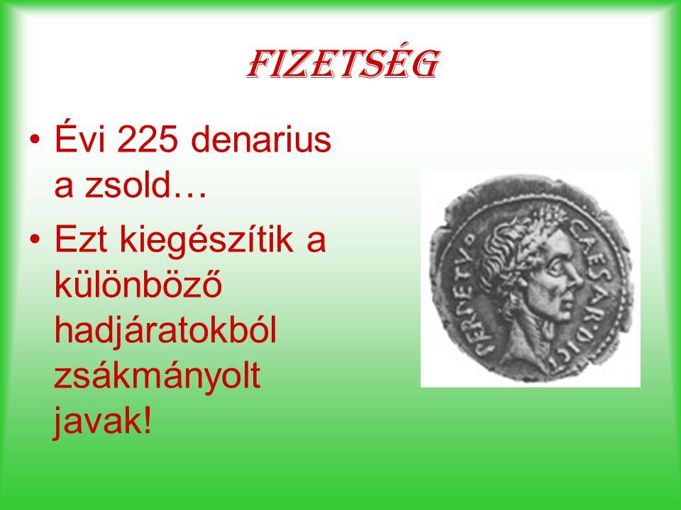 Fizetség Évi 225 denarius a zsold… Ezt kiegészítik a különböző hadjáratokból zsákmányolt javak!