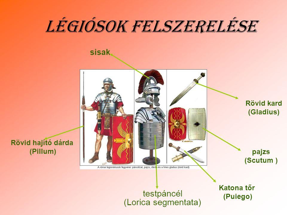 Légiósok felszerelése testpáncél (Lorica segmentata) pajzs (Scutum ) Rövid kard (Gladius) Katona tőr (Puiego) Rövid hajító dárda (Pillum) sisak