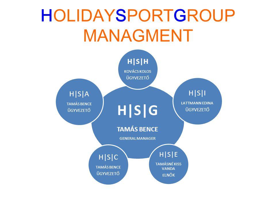 HOLIDAYSPORTGROUP MANAGMENT H|S|G TAMÁS BENCE GENERAL MANAGER H|S|H KOVÁCS KOLOS ÜGYVEZETŐ H|S|I LATTMANN EDINA ÜGYVEZETŐ H|S|E TAMÁSNÉ KISS VANDA E L