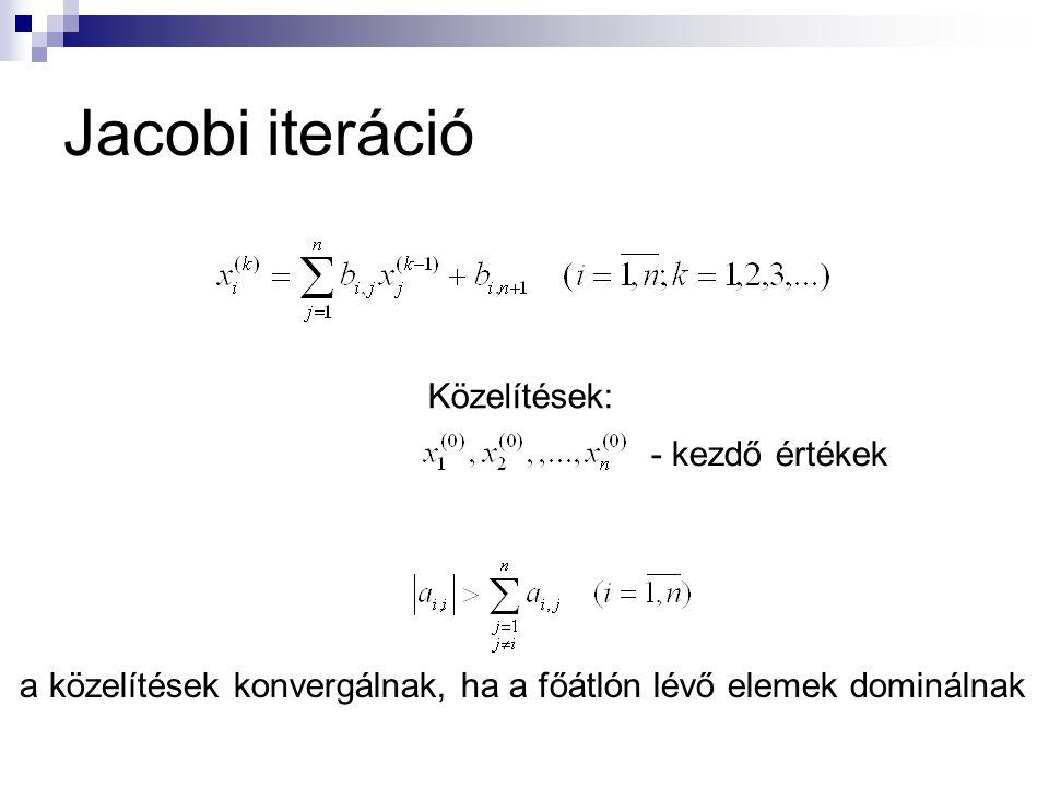 Jacobi iteráció Közelítések: - kezdő értékek a közelítések konvergálnak, ha a főátlón lévő elemek dominálnak