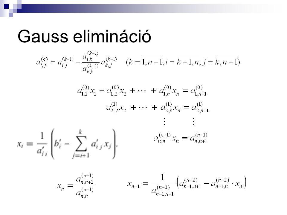 Gauss-Seidel módszer Az kiszámításakor már ismerjük az közelítéseket, és ezeket fel is használjuk
