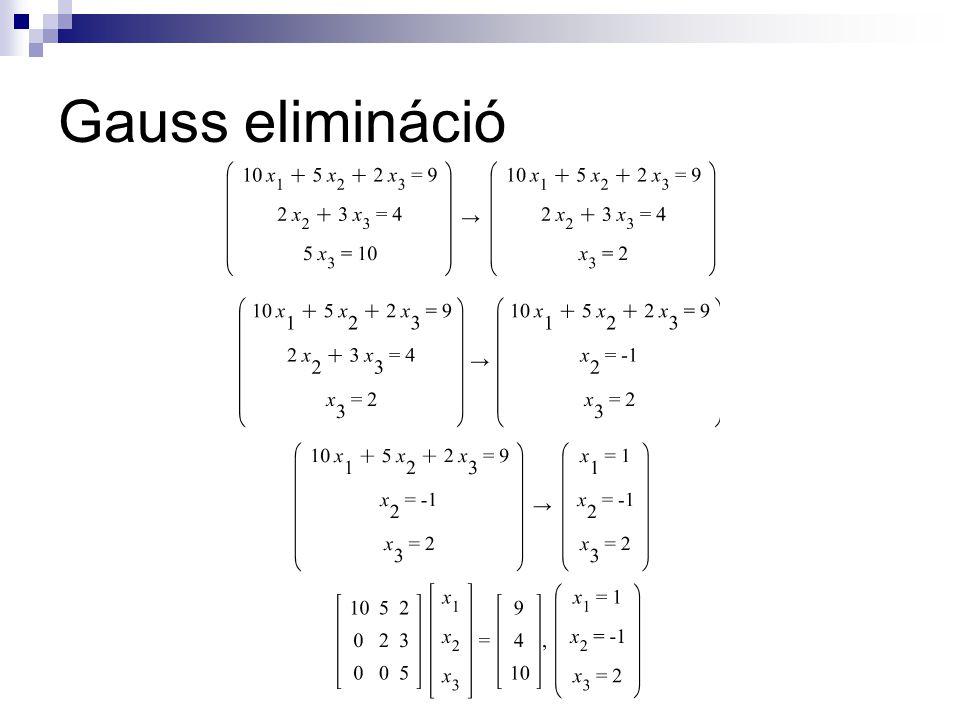 Gauss elimináció részleges főelem-kiválasztással Ha az együtthatók különbsége nagy, és a főátlón lévő elem (az osztó) értéke kicsi, a megoldás során jelentős hiba keletkezhet.