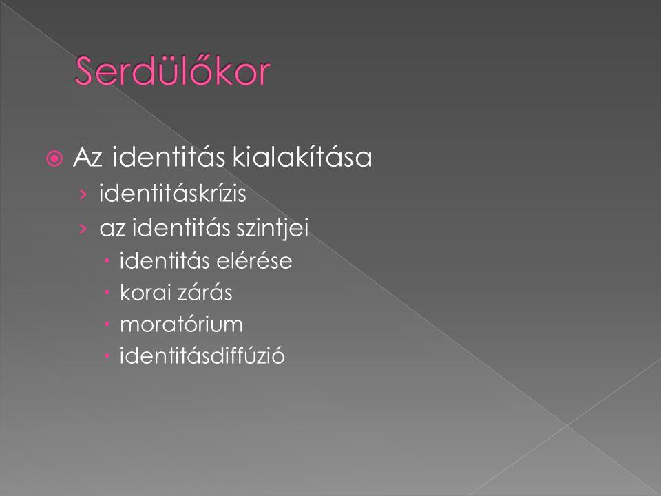  Az identitás kialakítása › identitáskrízis › az identitás szintjei  identitás elérése  korai zárás  moratórium  identitásdiffúzió