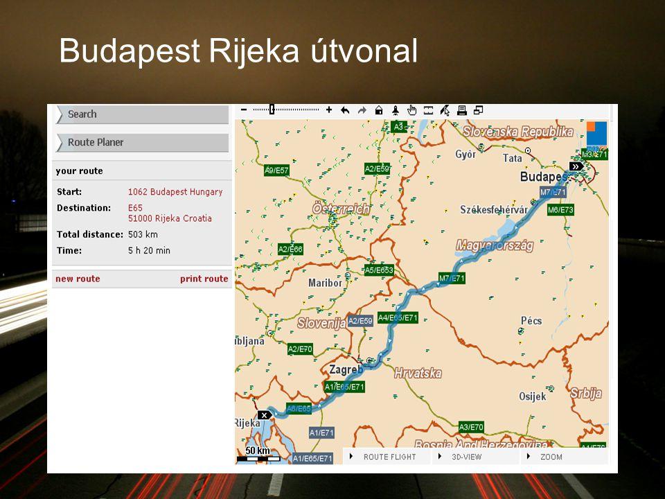 Budapest Rijeka útvonal