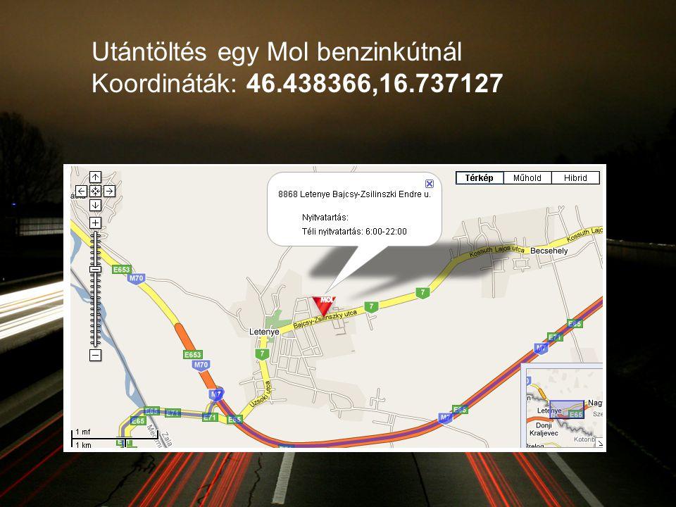Utántöltés egy Mol benzinkútnál Koordináták: 46.438366,16.737127